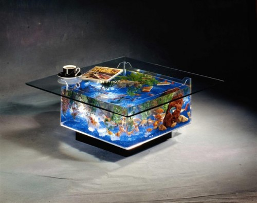 a coffee table and aquarium in one full of tropical fish