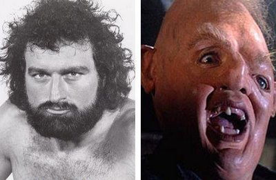 john matuszak before and after his makeup for his role as sloth in the gonies