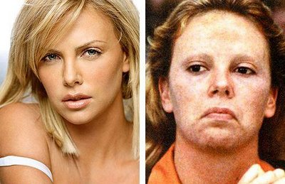 charlize theron before and after her makeup for the film monster