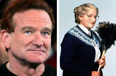 robin williams before and after his makeup for the film mrs doubtfire
