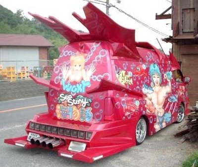 crazy car - red van with sea story pictures