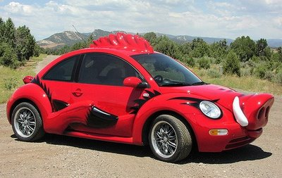 red vw beetle that looks like a pig