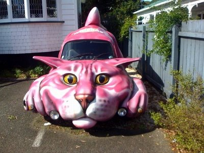 crazy car that looks like a pink cat