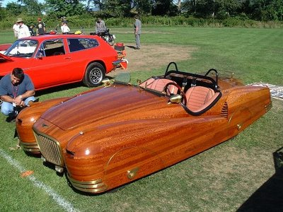 a crazy car with wood paneling