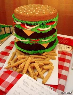 a cake shaped as burger and chips