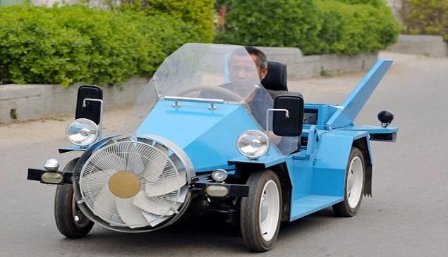 Farmer Creates Electric Wind Powered Car