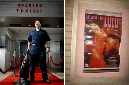 janitor vacuuming a red carpet at a porno theatre