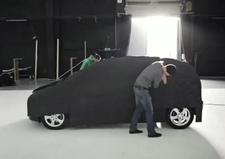 the guys at mercedes benz fitting led lights to invisible car