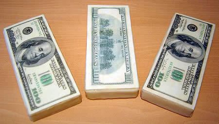 3 hundred dollar bill cakes