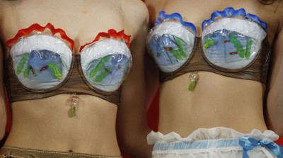 red and blue fishbowl bras