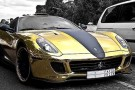 Rich Tycoon Coats His Ferrari In Gold 6