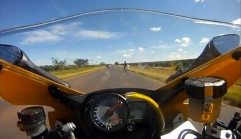 CRAZY VIDEO: Snake Jumps Out At Motorcycle Rider Doing 155mph