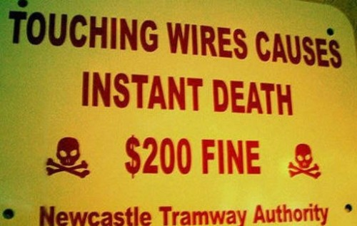 electric wires sign