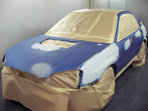 Taping Off Car For Painting