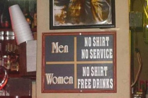 men and women bar sign