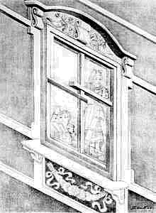 a black and white drawing of a window facing two directions - illusion