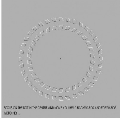 an illusion with two circles giving the impression that they are rotating