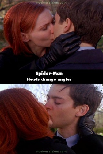peter parker kissing mary jane in the spiderman movie