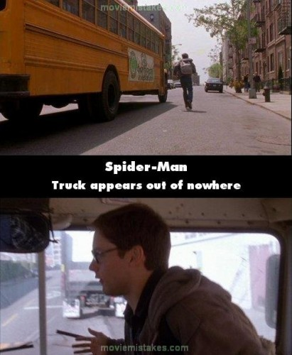 peter parker running for the bus in the spiderman movie