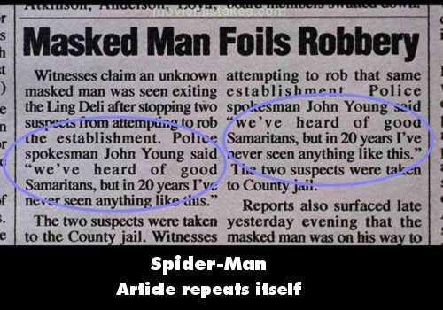 a shot of a news article from the spiderman movie