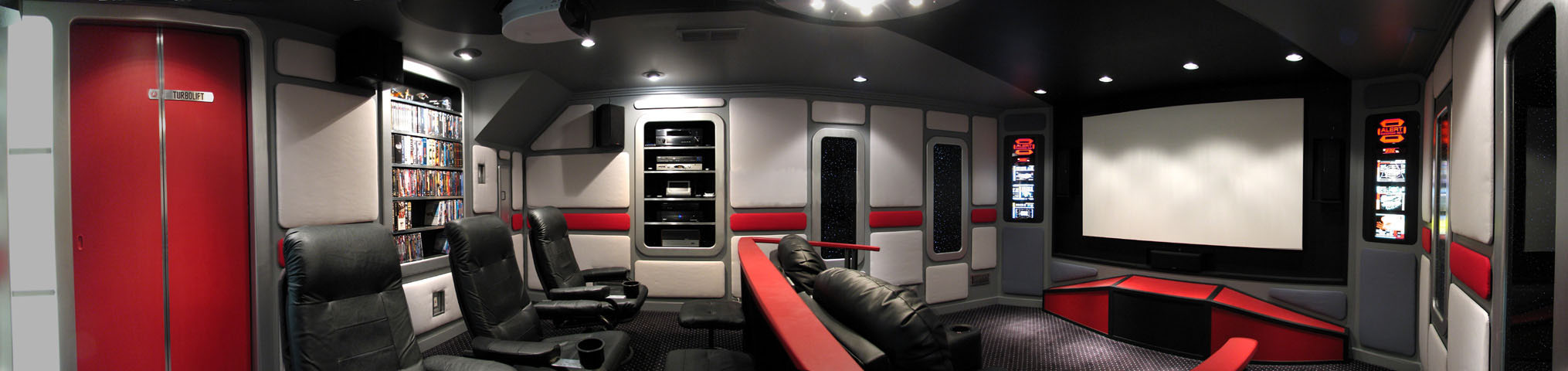Guy-Builds-Star-Trek-Themed-Home-Cinema- Star Trek Home Theater Design Idea on scooby doo home theater, alien home theater, lost in space home theater, death star home theater, prometheus home theater, guardians of the galaxy home theater, batcave home theater, marvel home theater, disney home theater, dark knight home theater, indiana jones home theater, harry potter home theater, superman home theater, private home theater, doctor who home theater, sci fi home theater, diy home theater, batman home theater, finding nemo home theater, custom home theater,