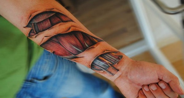 Amazing Realistic Muscle Tissue And Biomech Tattoos