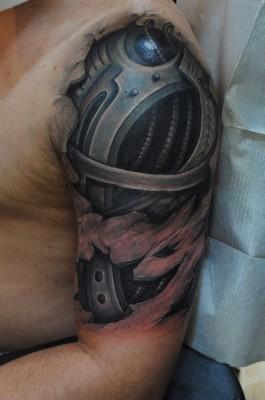 Amazing Realistic Muscle Tissue And Biomech Tattoos 3