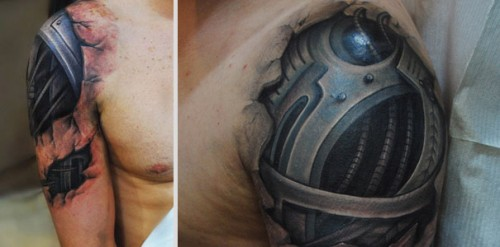 Amazing Realistic Muscle Tissue And Biomech Tattoos 4