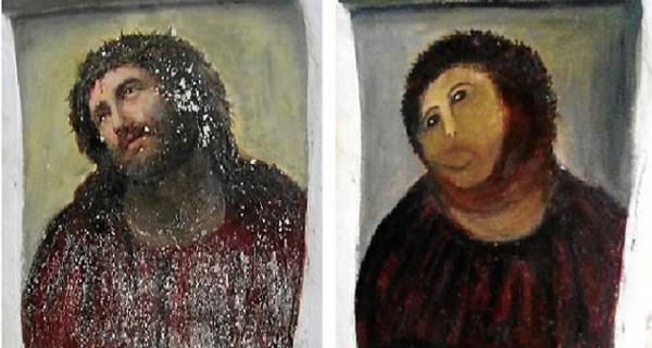 Old Woman Tries To Restore Damaged Church Painting And Ruins It