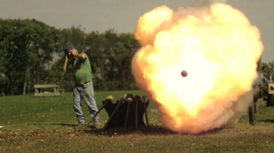 civil war cannon fired at a saturn car