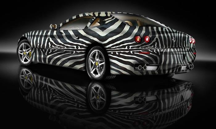 custom auto paint job sports cars dressed up as zebras. Black Bedroom Furniture Sets. Home Design Ideas