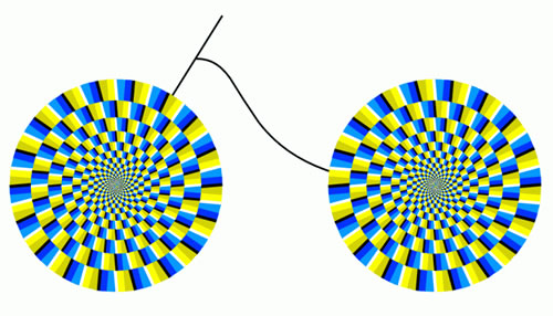illusions optical brain teasers moving wheels bicycle spin head illusion eye mind crazy circles move focus bike