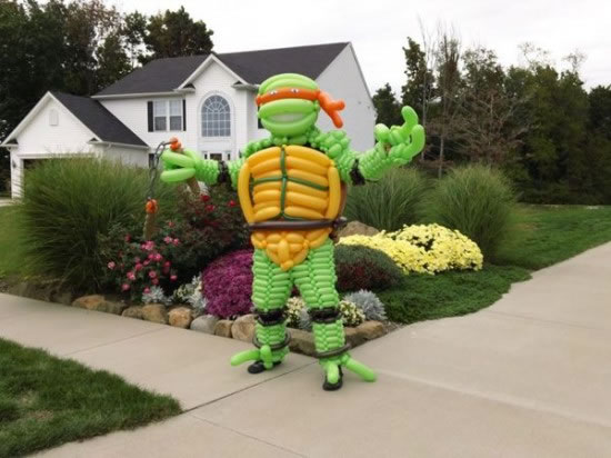 teenage turtle Costume Created Using Inflated Balloons
