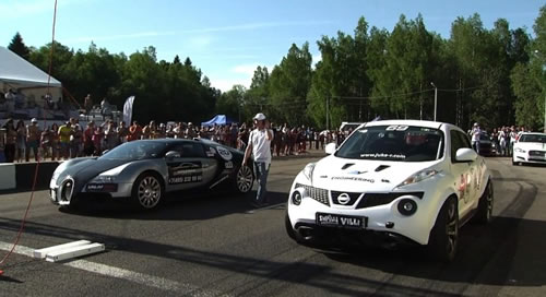 Bugatti Veyron vs Nissan Juke-R, Who Do You Think Wins
