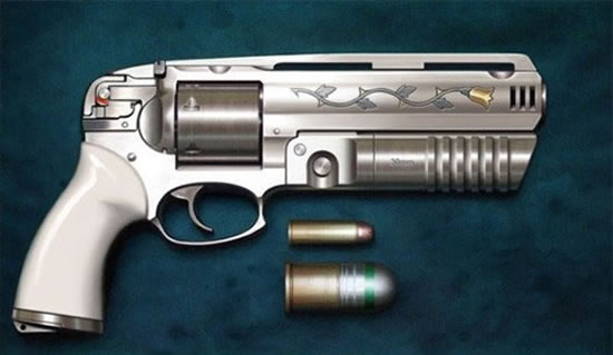 handgun with 30mm grenade launcher