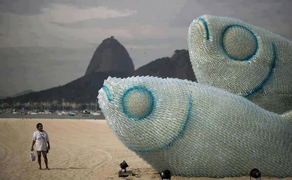 sculptures made from recycled bottles