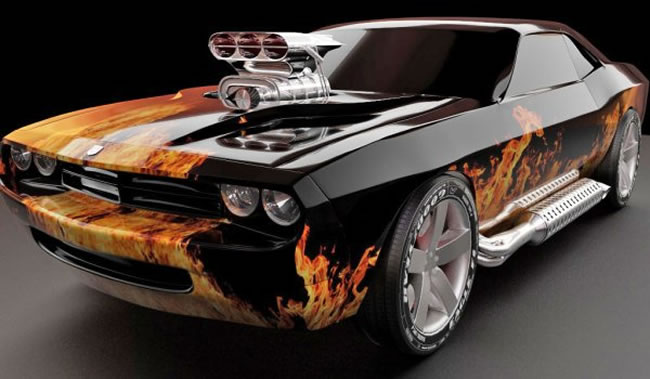 Custom Dodge Challenger With Paint Flames And Giant Side Exhausts