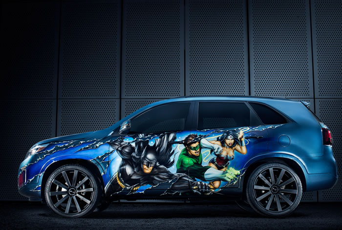DC Entertainment Adds Kia Sorento To Their Justice League Themed cars 1