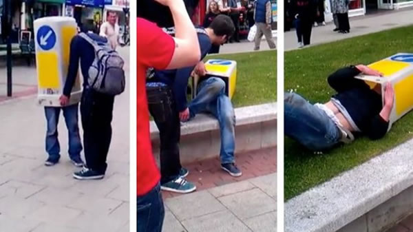 Police Called To Rescue A Man Stuck In A Traffic Cone - Video