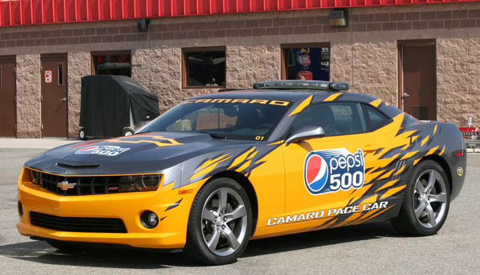 chevrolet camaro pace car arrives at nascar in style   video
