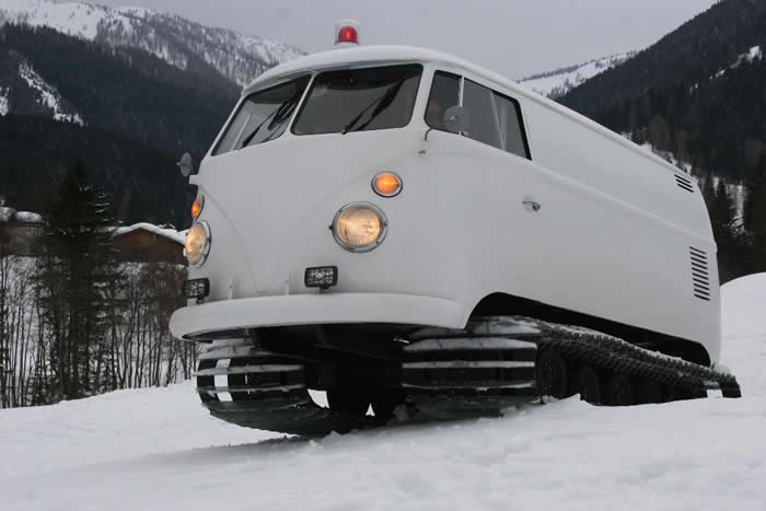 Custom VW Bus Camper With Winter Snow Tracks 1