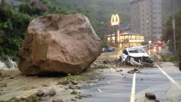 Giant Boulder Almost Crushes Car And Driver - Shocking Video