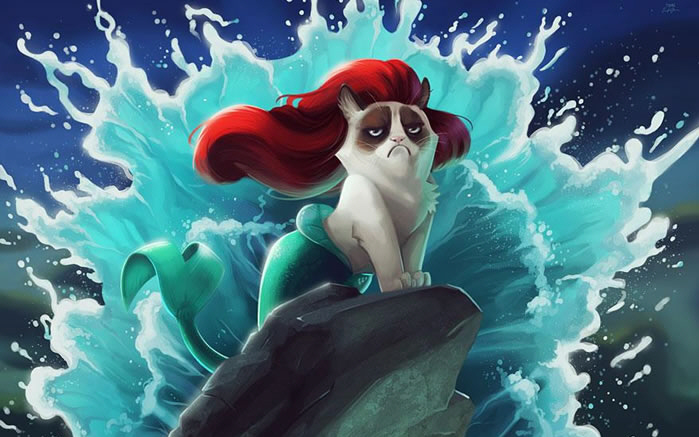 Grumpy Cat Photoshopped Into Disney Classics 1