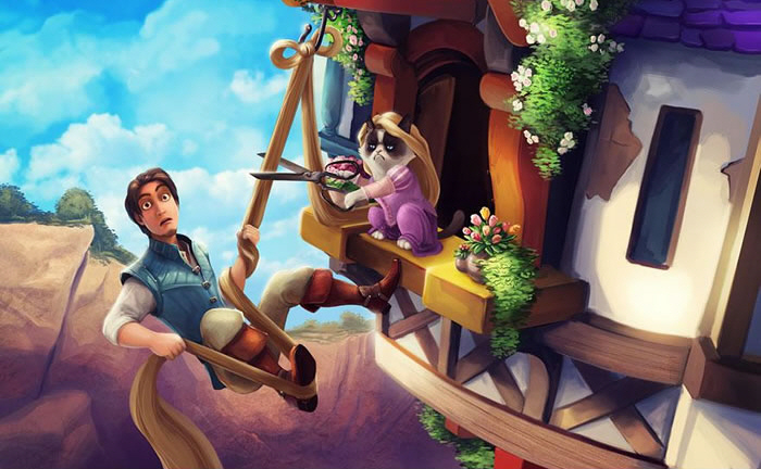 Grumpy Cat Photoshopped Into Disney Classics