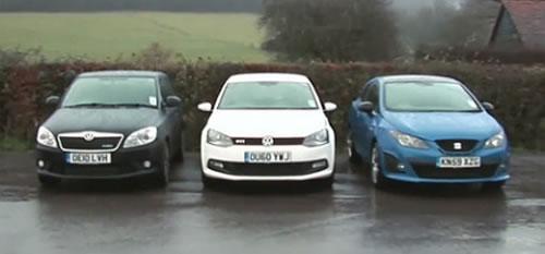 VW Polo GTI v Skoda Fabia vRS v SEAT Ibiza Cupra - Video