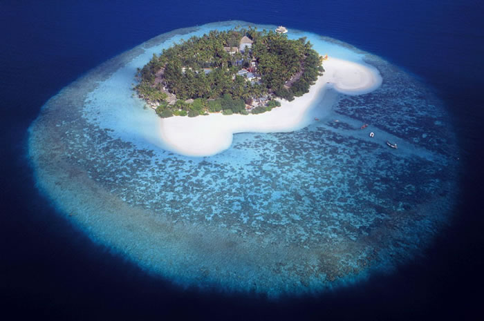 Low Level Aerial Photography Of The Stunning Maldive Islands