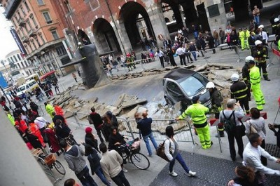 Submarine Crashes Through Milan Street For Insurance Company Campaign