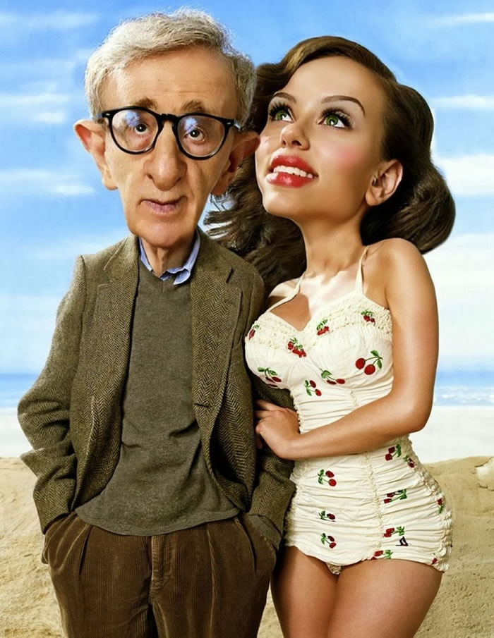 11 Custom Portraits 15 Crazy Celebrities Caricatures Woody Allen & Scarlett Johanson