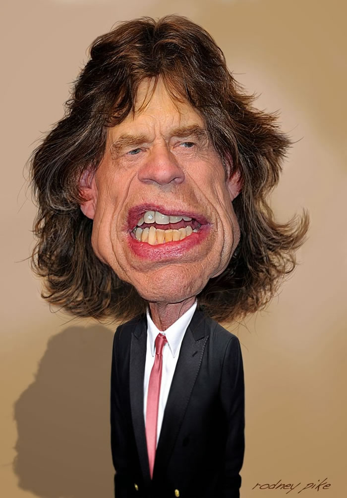 14 Custom Portraits 15 Crazy Celebrities Caricatures Mick Jagger