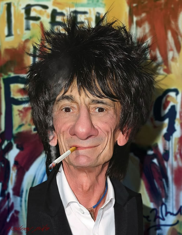 15 Custom Portraits 15 Crazy Celebrities Caricatures Ronnie Wood of The Rolling Stones
